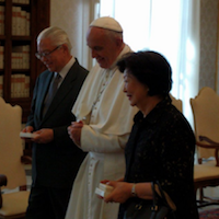 Pope meets President of Singapore.